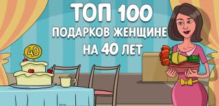 ТОП-100 лучших подарков женщине на 40 лет