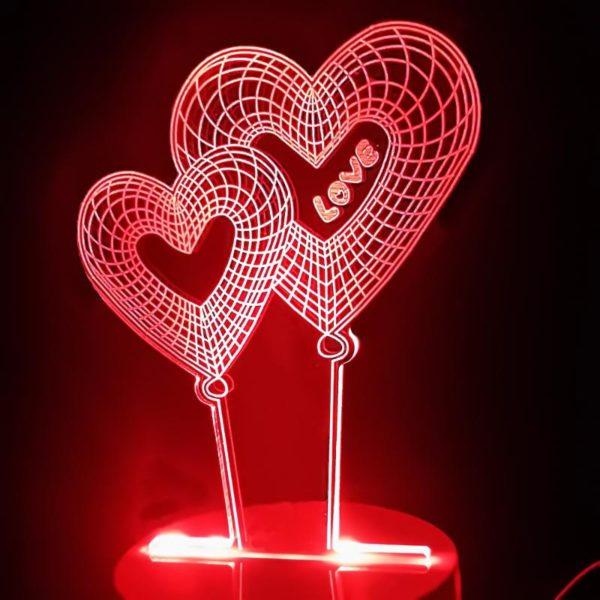 3D-лампа «Сердечки»