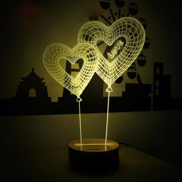 3Д лампа «Сердечки»